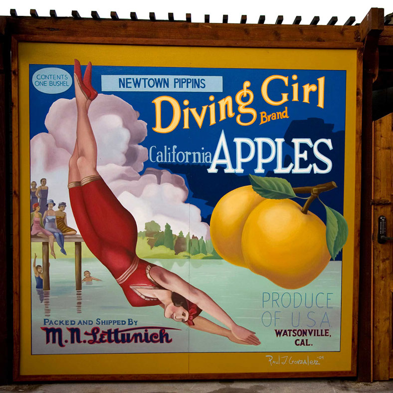 Diving Girl Apple Painting by Paul J Gonzalez